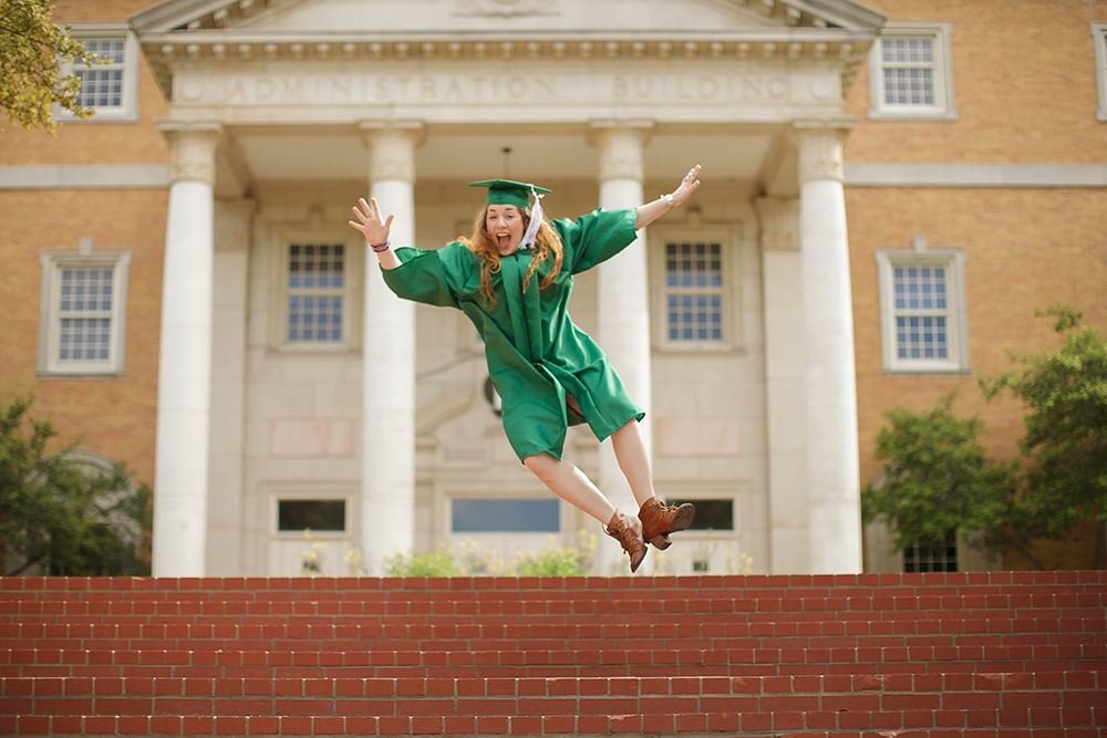 Graduate Jumping for Joy
