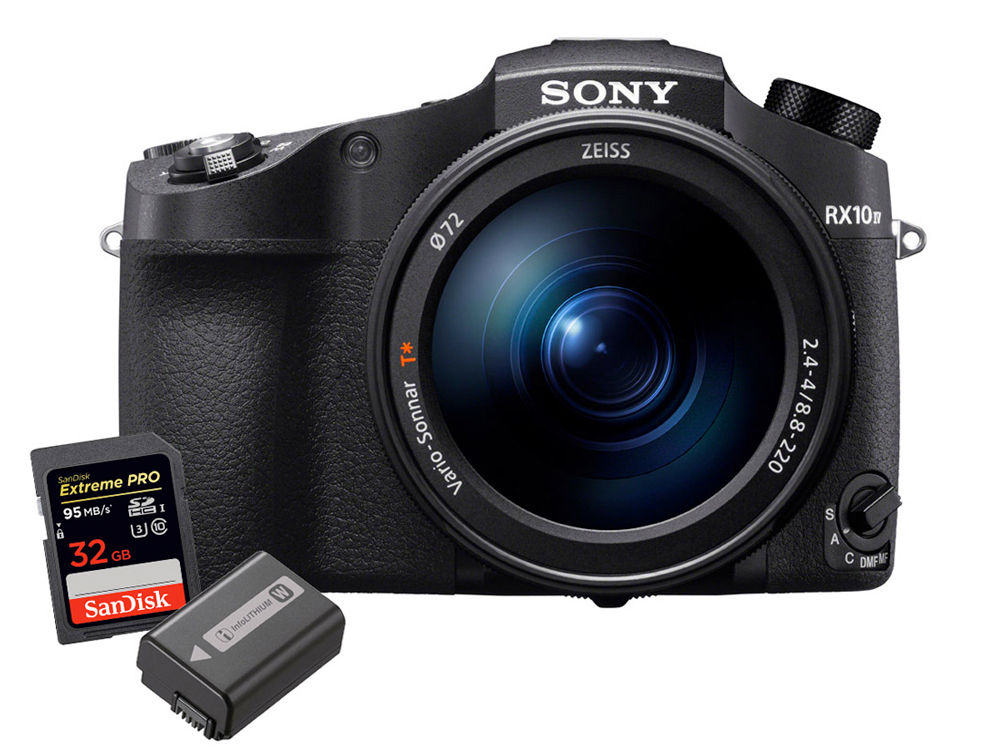 Sony Cyber-Shot DSC-RX10IV w/ NPFW50 Battery and 32GB SD SanDisk Memory