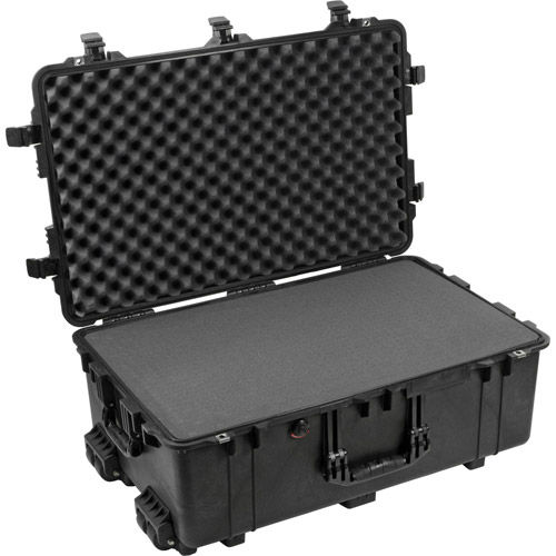 1650 Case Black w/Foam w/Retractable Handle & Wheels