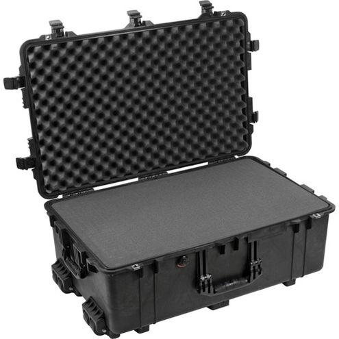 1650 Case Black w/Foam w/Retractable Handle & Wheels