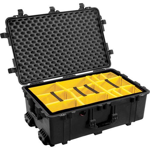 1650 Case Black w/Dividers w/Retractable Handle & Wheels