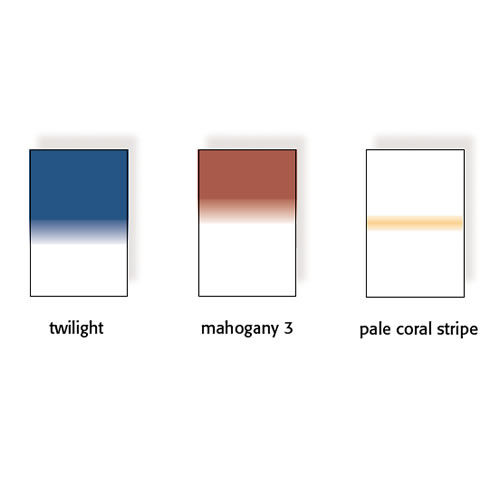 100x150mm Twilight Graduated Resin Drop In Filters Set Includes Twilight, Mahogany 3, and Pale Coral