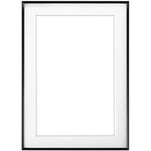 "5"" x 7"" Fineline Black Aluminum Frame with 4"" x 6"" Single Mat Opening # 03"