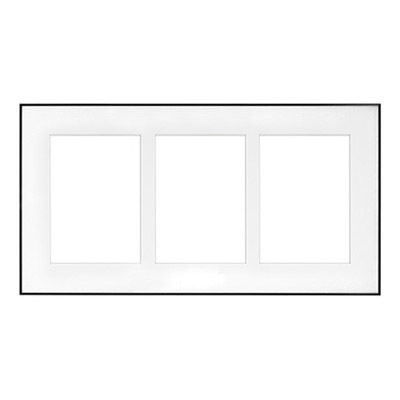"9.5"" x 18"" Fineline Silver Aluminum Frame with 3 - 5"" x 7"" Single Mat Openings # 80"