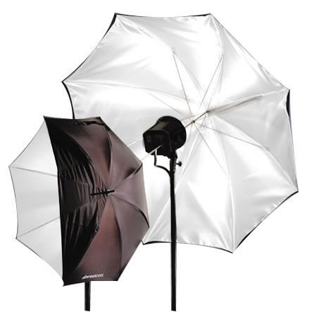 """43"""" Optical Wht Satin umbrella Collapsible w/ Removable Black Cover"""