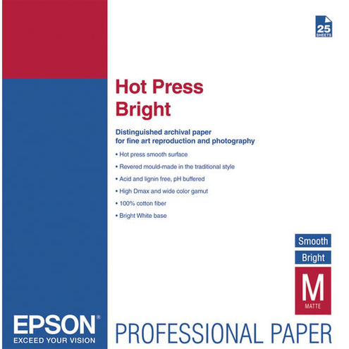 "8.5"" x 11"" Hot Press Bright Signature Worthy 25 Sheets 330gsm"