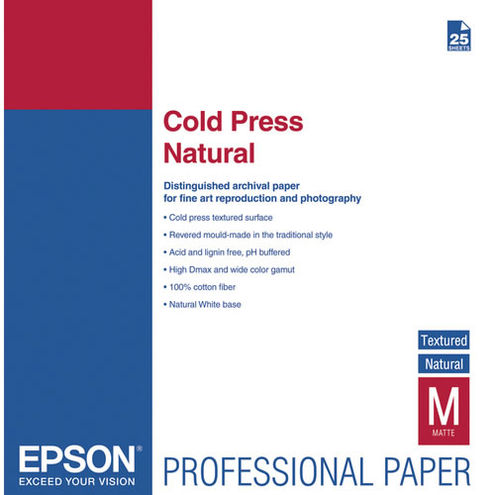 "17"" x 22"" Cold Press Natural Signature Worthy 25 Sheets 340gsm"