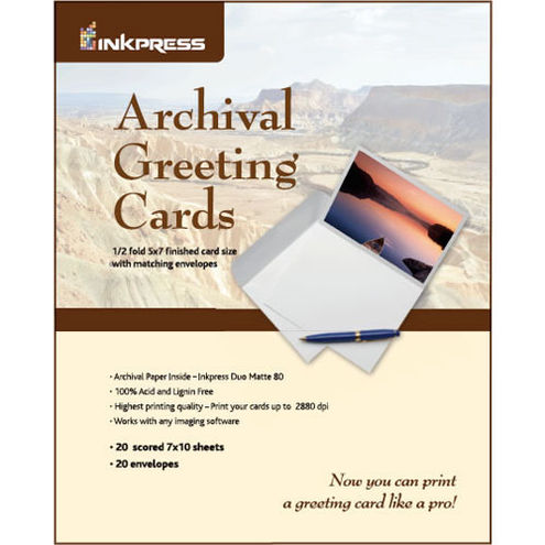 "7""x10"" / 5""x7"" Duo Matte 20 Archival Greeting / Scored Cards with Envelopes"