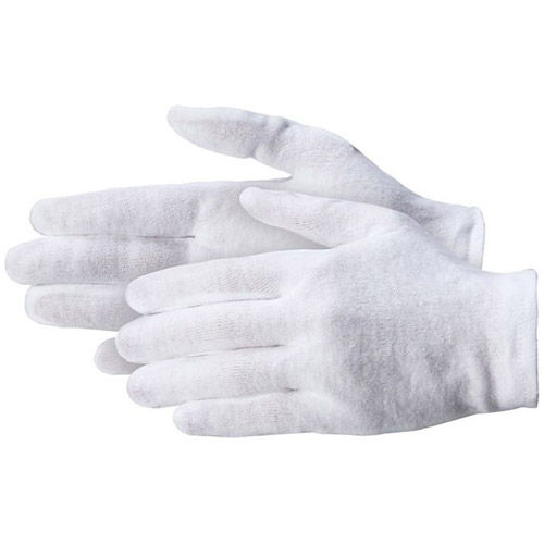 "100% Cotton Gloves - Light Weight 2.5 oz Mens L 9 1/2 - 10"" - 12 Pairs per package"