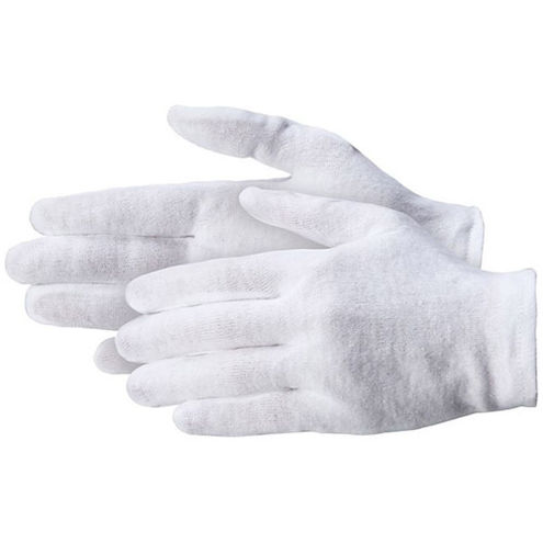 """100% Cotton Gloves Medium Weight 3.5oz Mens L 9 9 1/2-10"""" 12 Pairs per package"""