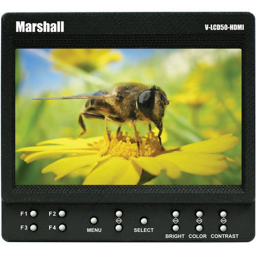 "5"" On Camera Monitor with HDMI Input (only) , Sun Shade with Peaking and False Color DV Plate"
