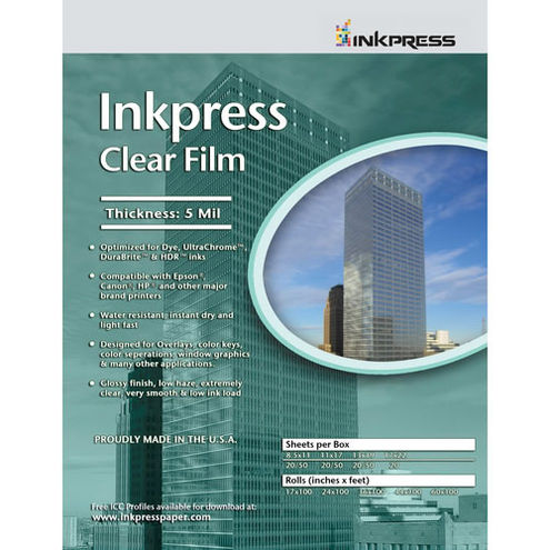"11"" x 17"" Clear Film 5mil 20 Sheets"
