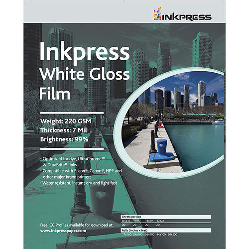 "8.5"" x 11"" White Gloss Film 7mil 20 Sheets"