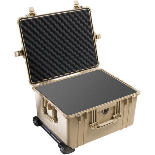 1620 Case w/Foam, w/Retractable Handle & Wheels - Tan