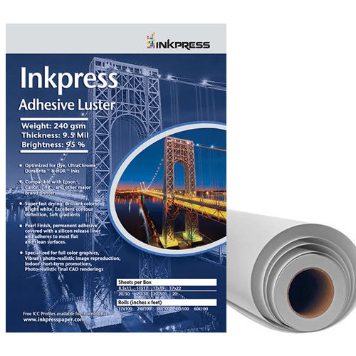 """24"""" x 100' Adhesive Luster 190gsm 8mil Roll"""