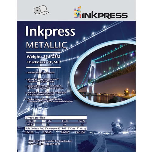 "17"" x 38"" Metallic Paper Gloss 255gsm 10mil 25 Sheets"
