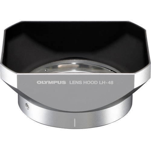 LH-48 Silver Metal Lens Hood for Micro 4/3 12mm f/2.0 Lens