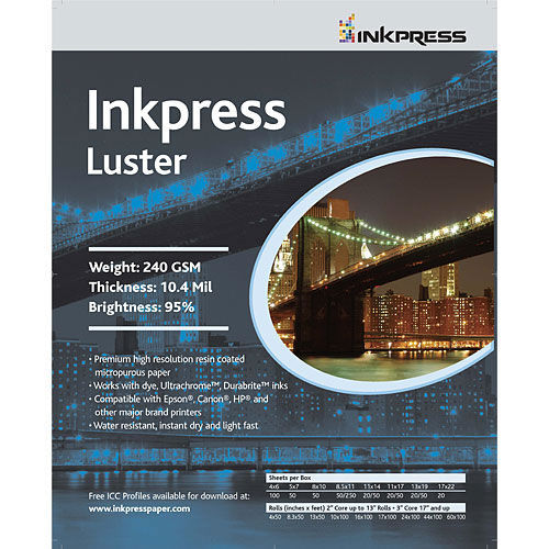 """17"""" x 100' Luster 240gsm 10.4mil Roll"""
