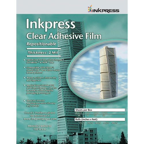 "24"" x 75' Repositionable Adhesive Clear Film 2 mil Roll"
