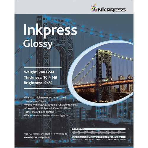 """8"""" x 10"""" Glossy 240gsm 10.4 Mil 50 Sheets"""