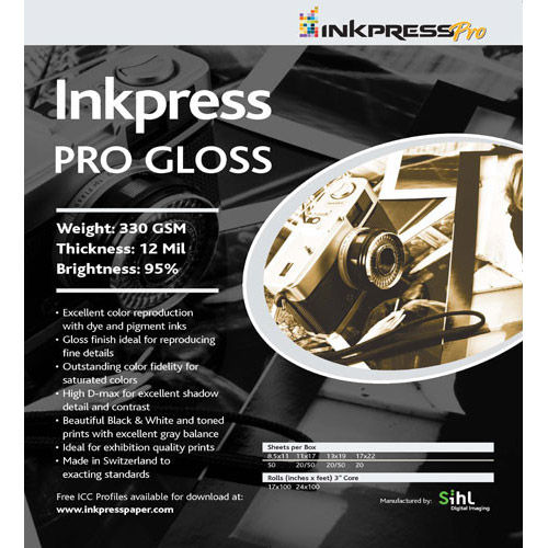 "8.5"" x 11"" PRO Gloss 330gsm 5 Sheets"