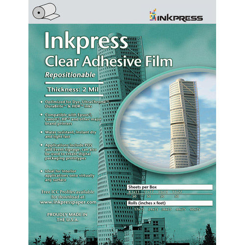 """42"""" x 75' Repositionable Adhesive Clear Film 2 mil Roll"""