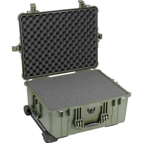 1610 Case Green w/ Foam w/Retractable Handle & Wheels