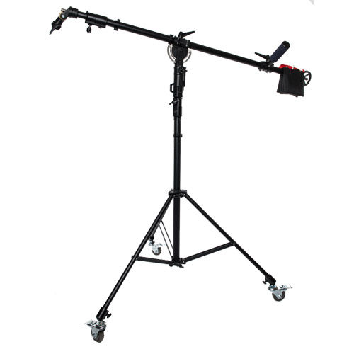 Telescoping Boom Stand with Rotating Head, Cine Stand with Locking Wheels