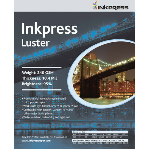 """11""""x17"""" Luster 240gsm 10.4 mil,94% Bright,100 Sheets"""