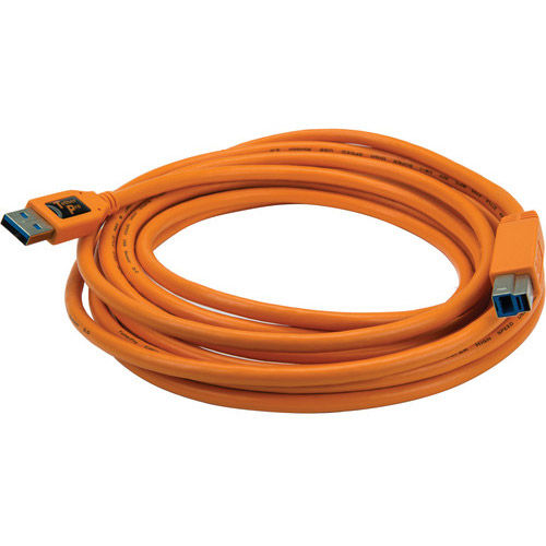 TetherPro USB 3.0 Male A to Male B, 15' Orange