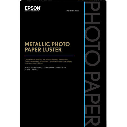 "13"" x 19"" Metallic Photo Paper Luster - 25 Sheets"