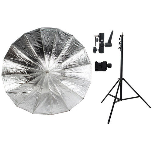 "72"" Black/Silver Parabolic Umbrella Kit with Large Light Stand, Umbrella Holder and Cold Shoe"