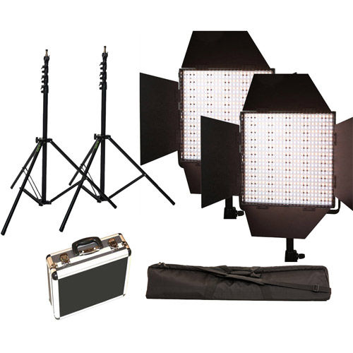 2 x LG-600S LED Lights 5600K with 2x Mantis Light Stands, Stand Bag and Hard Case