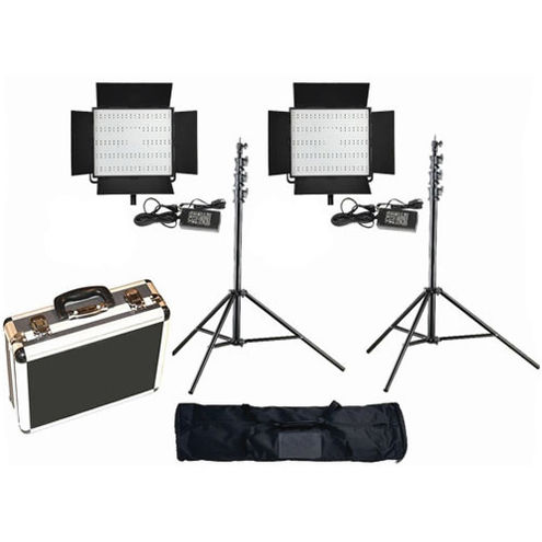 2 X LG-900S LED Lights 5600K with 2x Mantis Light Stands, Stand Bag and Hard Case