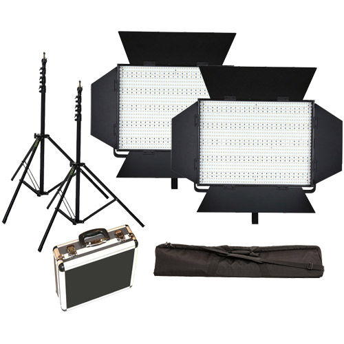 2 X LG-1200S LED Lights 5600K with 2x  Mantis Light Stands, Stand Bag and Hard Case