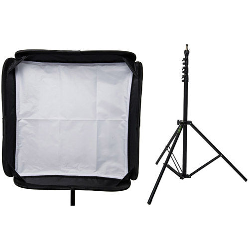 """19"""" x 19"""" Speedlight Collapsible Softbox Kit  - Silver with Tilthead Bracket and Medium Light Stan"""