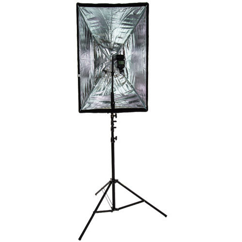 "24"" x 35"" Brolly Box Kit with Dual Flash Holder and Medium 3.0 m Air Cushion Light Stand"