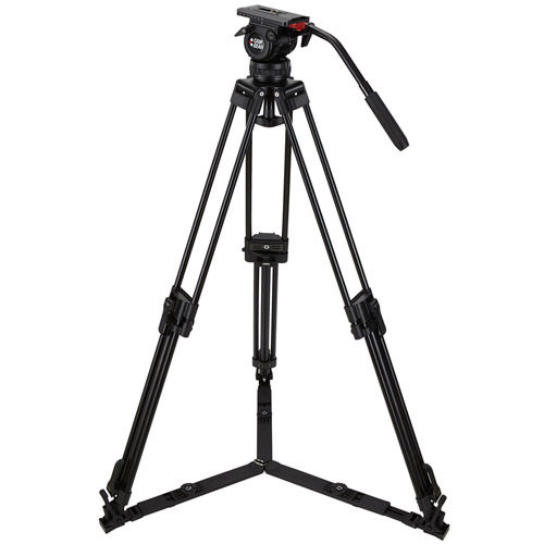 DV6PGSAL Video Tripod Kit With DV6P Head, T75 Aluminum Tripod with Ground Spreader, and Case
