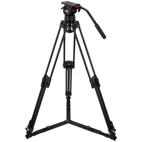 DV6PALML Video Tripod Kit With DV6P Head, T75 Aluminum Tripod with Mid-Level Spreader, and Case
