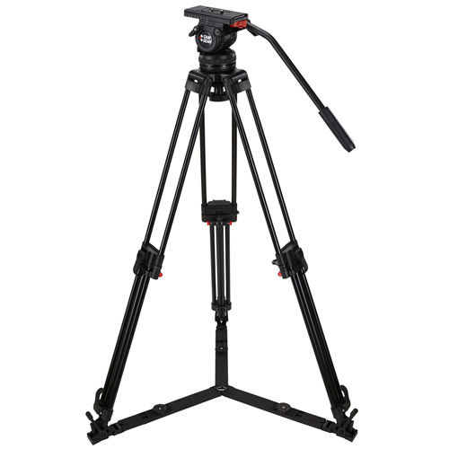 V10P GSAL Video Tripod Kit With V10 Head, T100 Aluminum Tripod with Ground Spreader, and Case