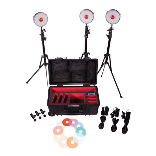 Neo 3 LED Light Kit with Hard Roller Case, 3 x Light Stands, 3 x Pro Ball Heads