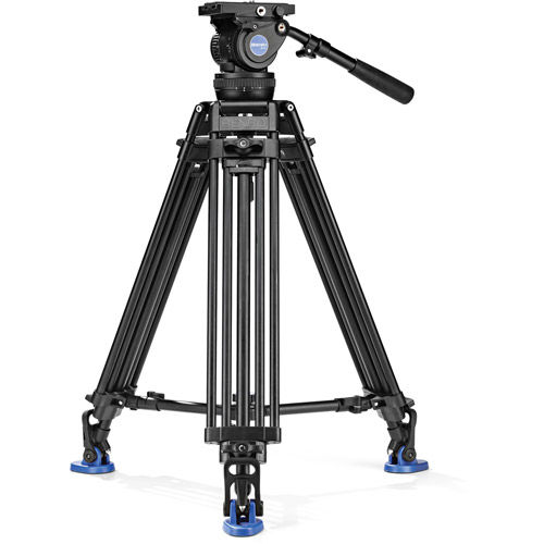 BV10 Aluminum Video Tripod Kit - Dual Legs with BV10 Head, A673T Legs, Mid Level Spreader and Bag