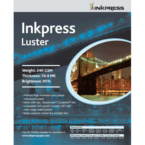 """8""""x10"""" Luster 240gsm, 10.4 mil 94% Bright - 50 Sheets"""