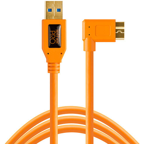 TetherPro USB 3.0 Male to Micro-B, RightAngle Orange 15'