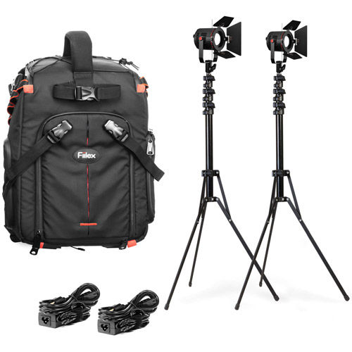 All Weather 2 P180E Light Compact Kit. Includes 2x P180E , Stands, Barndoors, and Backpack