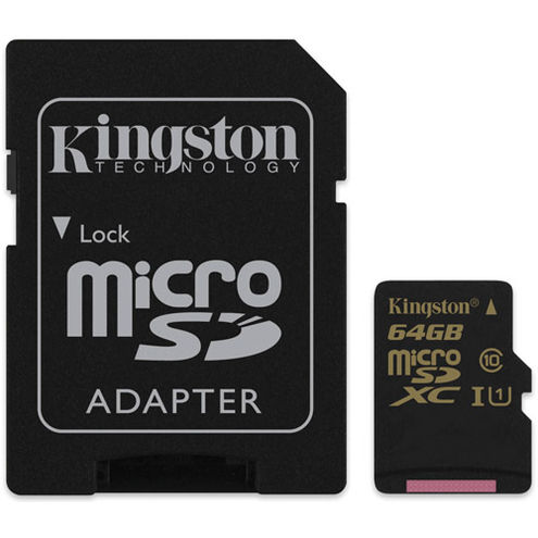 64GB Micro SDXC UHS-I U1 Class 10 Card w/ Adapter, 90MB/s read and 45MB/s write