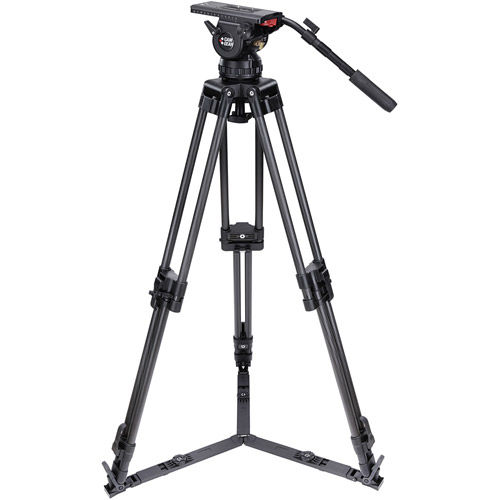 V25EFP100 Video Tripod Kit With V25 Head, 2-Stage Carbon Fiber Tripod, Mid-Level Spreader, and Case