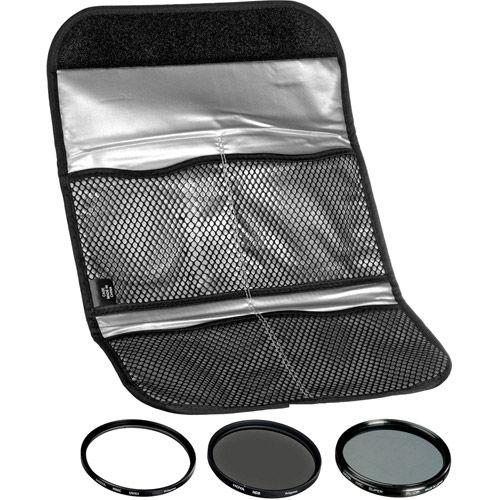 55mm Digital Filter Kit 2 - UV, PL-CIR,  Neutral Density 8x, Pouch
