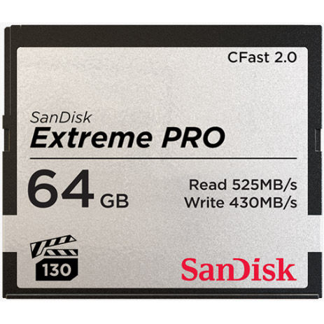 Extreme Pro 64GB Cfast 2.0 Card 525MB/s read & 430MB/s write speeds