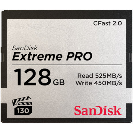 Extreme Pro 128GB Cfast 2.0 Card 525MB/s read & 450MB/s write speeds